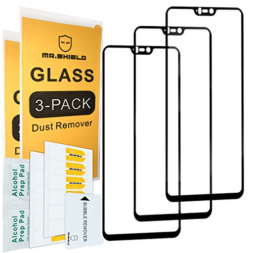 [3-Pack]-Mr.Shield for OnePlus 6 / OnePlus Six [Japan Tempered Glass] [9H Hardness] [Full Screen Glue Cover] Screen Protector with Lifetime Replacement