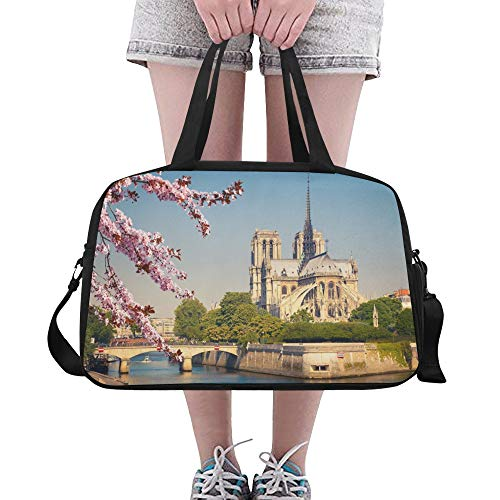 Gym Bags Notre Dame De Paris Spring View Custom Fitness Duffel Bag Functional Duffel Fitness Tote For Student Lady Yoga Ballet College Gymsack With Shoe Pounch - Bag Notre Gym Dame