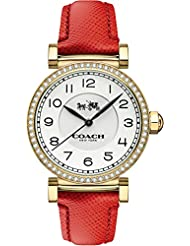COACH Womens Madison Fashion 36mm Leather Watch White/Red One Size