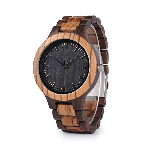 Mens Wooden Watch, Black & Zebra Sandalwood Wood Quartz Watch for Men Casual Wrist Watches