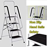 4 Step Ladder With Safety Handrail Folding Safety Non Slip Matt Safe Heavy Duty Light Weight 8.3kg