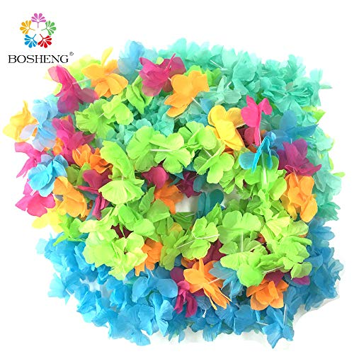 BOSHENG Colorful Lei Assortment Luau Flower Leis Necklaces for Party Event,Set of 30 for $<!--$7.99-->