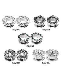 """D&M Jewelry Steel Silver Clear Crystal Gems Screw Back Ear Expander Earring piercing 2g-5/8""""(6mm-16mm)"""