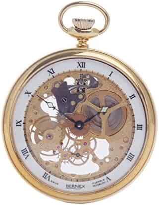 BN24105 - Gold Plated - Open Face - Skeleton Movement - Roman Dial - White Dial