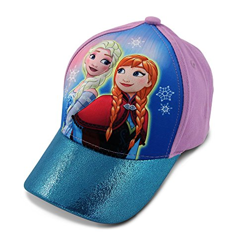 Disney Little Girls Frozen Anna and Elsa 3D Pop Baseball Cap, Age 4-7 Blue/Purple