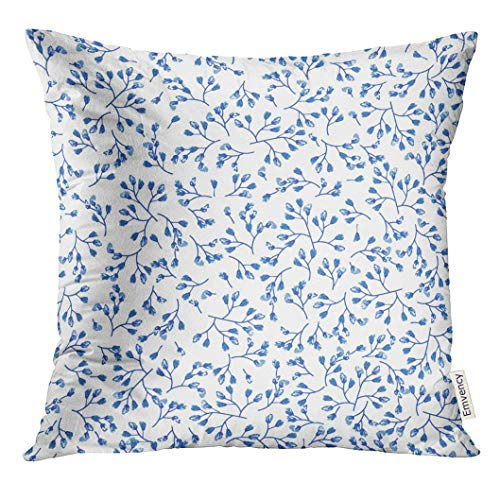 (TOMKEYS Throw Pillow Cover Pottery Elegant Gentle Blue and White in Small Scale Flower Buds Millefleurs Liberty Floral Porcelain Decorative Pillow Case Home Decor Square 18x18 Inches Pillowcase)