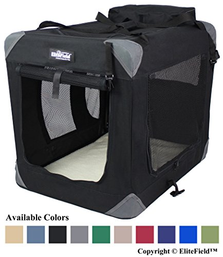 "EliteField 3-Door Folding Soft Dog Crate, Indoor & Outdoor Pet Home, Multiple Sizes and Colors Available (30"" L x 21"" W x 24"" H, Black)"