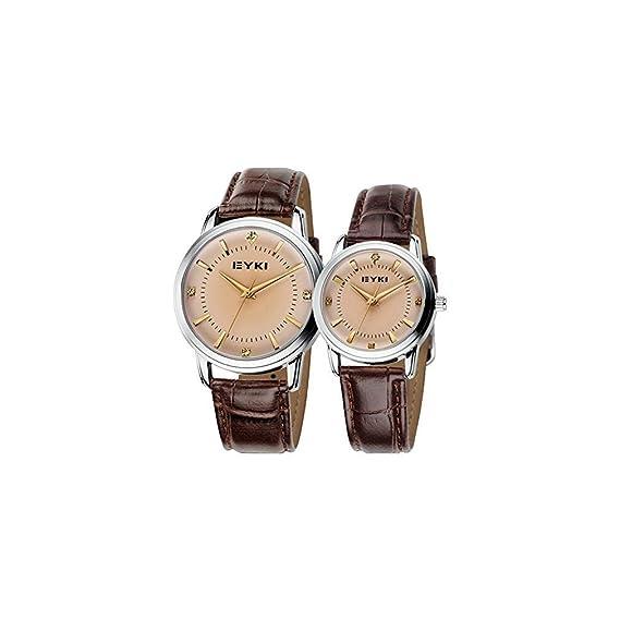 JIANGYUYAN correa de piel Para Hombre y Mujer Pareja Relojes marrón: Amazon.es: Relojes