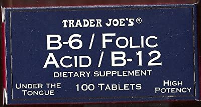 Trader Joe's B-6 / Folic Acid / B-12 Dietary Supplement, Under The Tongue, 100 Tablets