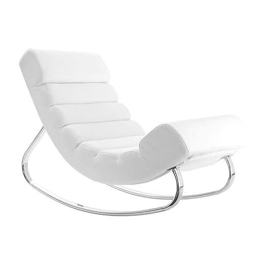 Miliboo - Sillón mecedor de diseño blanco TAYLOR: Amazon.es ...