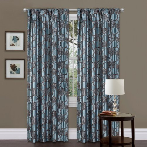 Triangle Home Fashions 19013 Lush Decor Circle Charm Window Curtain Single Panel, 84 inch x 42 inch, Blue/Brown - 84' Rod Pocket Draperies