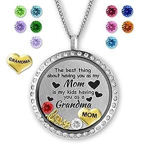 Birthstone Jewelry- Locket Necklace Memory Charms- Fashion Jewelry Gifts for Grandma & Mom