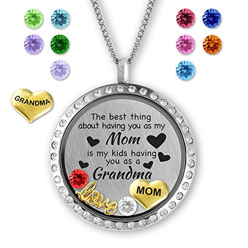 Mothers Day Gifts Birthstone Jewelry- Locket Necklace Memory Charms- Fashion Jewelry for Grandma & Mom
