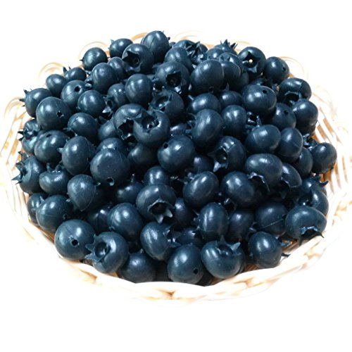 (Gresorth 50pcs Artificial Blueberry Craft Fake Fruit Blueberries Home House Kitchen Cabinet Decoration)