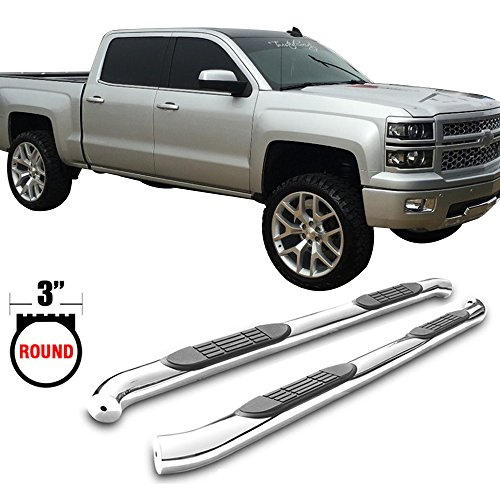Side Step Bars Fits 2007-2017 Chevy Silverado & GMC Sierra Crew Cab | T304 Stainless Steel Finish Running Boards Nerf Bars LH RH Pair By IKON MOTORSPORTS | 2008 2009 2010 2011 2012 2013 2014 2015 2016 - Sle Crew Cab