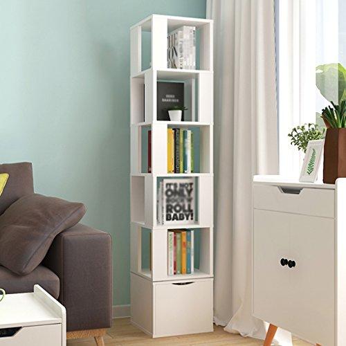 (Bookshelf 360 Degrees Rotating Floorstanding Shelf Simple Bookcase Student Multifunction Living Room Lockers Swivel (Color : Warm white))