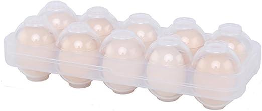 UxradG Huevera de Cocina con Tapa, Protección de 360°, para frigorífico, Estuche de Huevo Portátil, 10 Orificios para Huevos, Transparente, 26*10.5*7cm: Amazon.es: Hogar