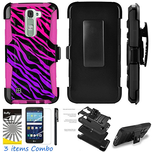 LG K10 Premier LTE L62VL L61AL Ituffy 3item: LCD Film+Stylus Pen+[Dual Layer Shock Proof][Belt Clip Holster Combo][KickStand] Armor Case (Pink Purple ()
