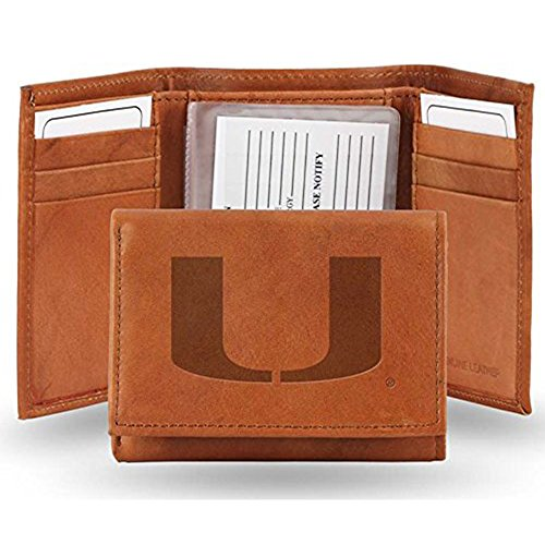 NCAA Miami Hurricanes Lthr/Manmade Trifold Sports Fan Wallets, Multicolor, One (Lthr Chain)