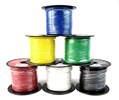 16 GA Single Conductor Stranded Remote Wire 6 Rolls Primary Colors 12V 100'FT - Wire Single Conductor