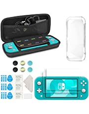 innoAura Accessory Kit for Nintendo Switch Lite, include Portable Carry Case with 8 Game Cartridge, Clear TPU Cover Case, [2 Pack]HD Tempered Screen Protector for Switch Lite Accessories