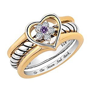 """CharmsStory Sterling Silver I Love You To The Moon And Back Promise Rings Heart Wedding Rings Size 8"""""""