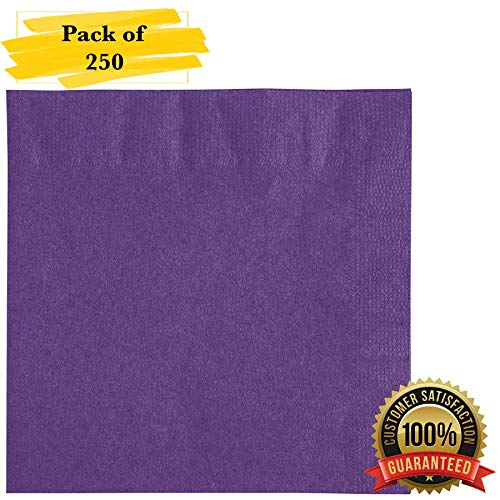 (MM Foodservice 2- Ply Cocktail Napkins, Beverage Paper Napkins, Set of 250 (Purple))