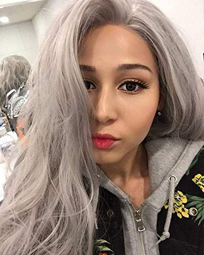 Formal Hair Long Wavy Gray Lace Front Wigs Fashionable Looking Glueless Ash Gray Synthetic Wigs for Women Hlaf Hand Tied Cosplay Replacement Wig 24 inches Heat Resistant Fiber -