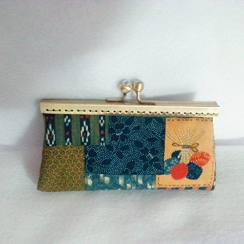 Porte monnaie tissus japonais thème patchwork 15 cm rectangulaire