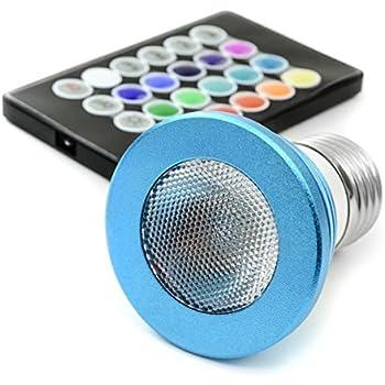 Multicolor RGB LED Bulb, 3 Watt MR16, E26 Base. Includes Remote