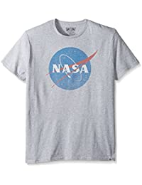 NASA Men's Logo Black Crew Neck Tee Shirt