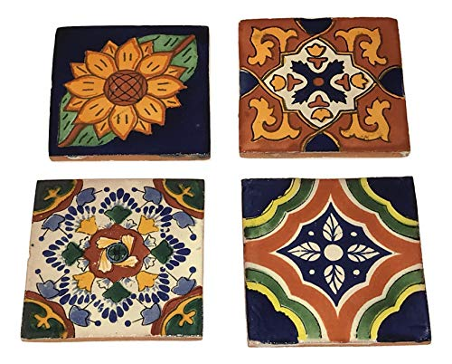 Rustic Talavera Hand-Painted Ceramic Coasters - Set of 4 - Designs Will Vary