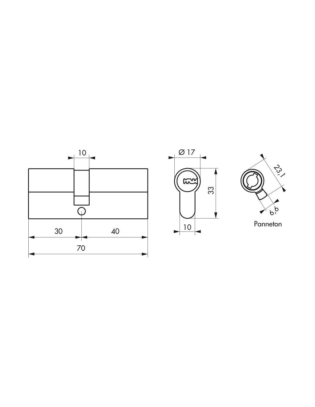 30 x 40 mm Cylindre de serrure Trafic 6 /à double entr/ée cl/és longues Ref : 00017752 Thirard