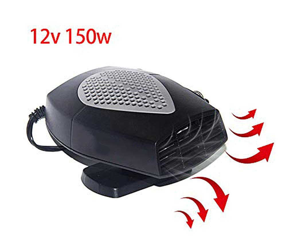 JUCERS Portable Car Heater Defroster, 60 Seconds Fast Heating Auto Window Defrost Defogger Demister Vehicle Heat Cooling Fan 12V 150W Auto Ceramic Heater with Folding Handle,Low Noise