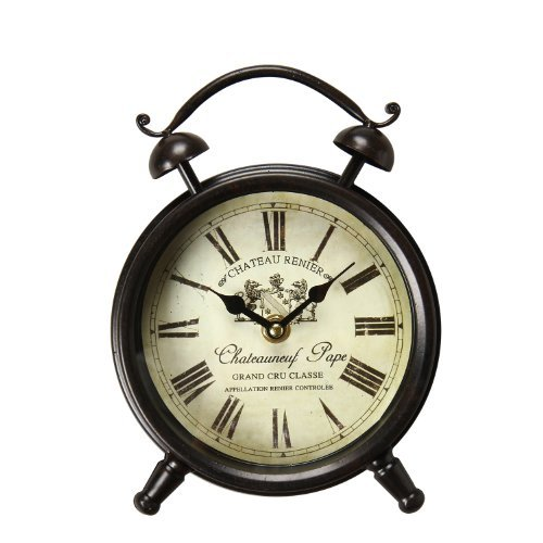 Adeco Vintage-Inspired Brown Iron Clock Wall Hanging or - Vintage Antique Hanging Clock