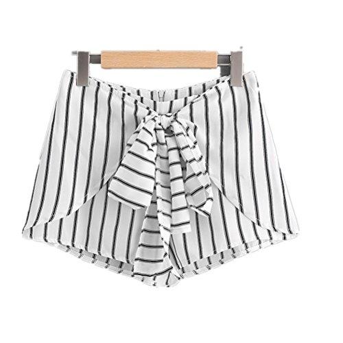 Oudan con tempo grandi Pantaloncini il da di papillon donna strisce Bianca dimensioni stampati libero per con 4Aw4qxt1r
