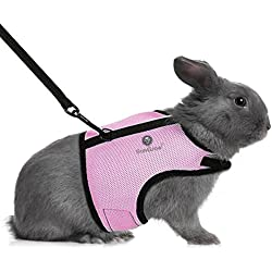 SunGrow Trixie Rabbit Harness (Peppy Pink Color) with Velcro and Fully Elastic Leash : Breathable Mesh and Nylon Fabric: Comfortable Extra Soft padding: Adjustable, Fast and Easy to put on