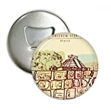 Chichen Itza Mexico Ancient Civilization Drawing Round Bottle Opener Refrigerator Magnet Pins Badge Button Gift 3pcs