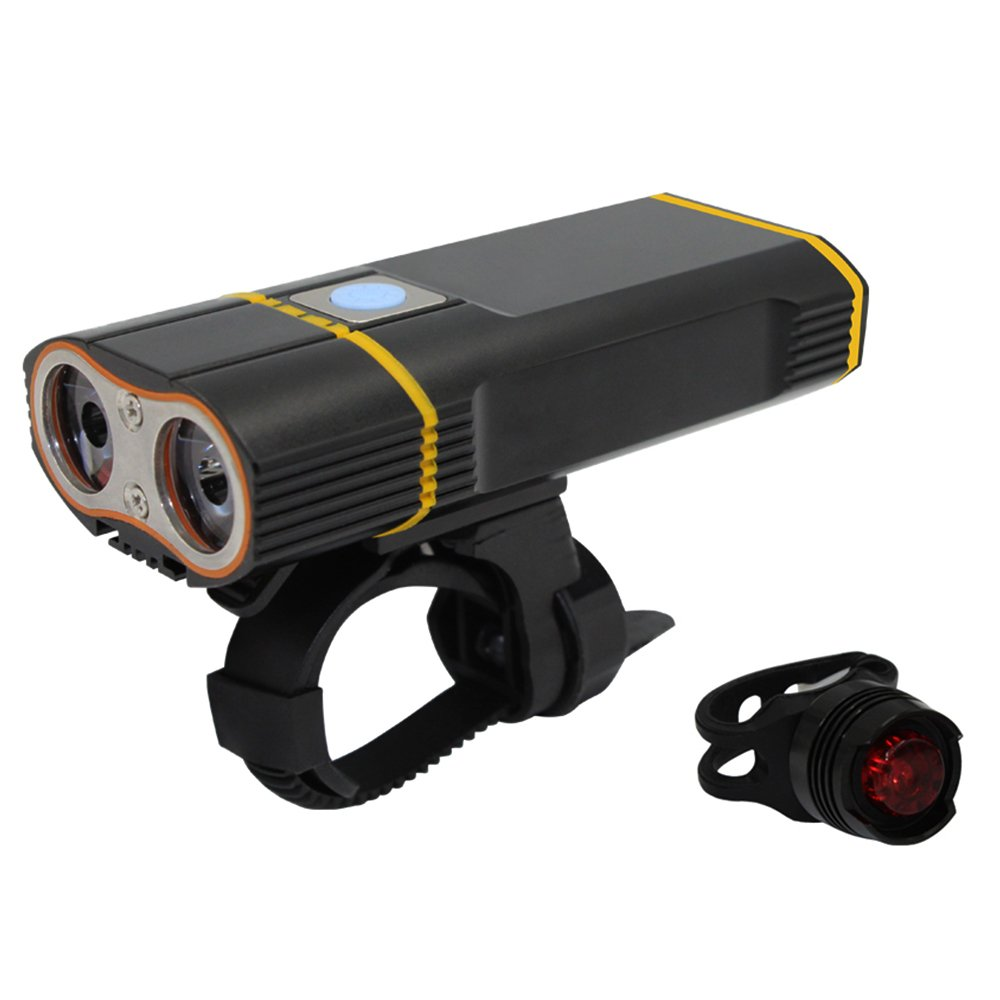 Whaitfire LED Bike Lights Front And Back, USB Rechargeable Bike Light Set, Waterproof 5 Modes 2000 Lumens Super Bright Bicycle Front Lights, Bike Headlight, Free Tail Light Include