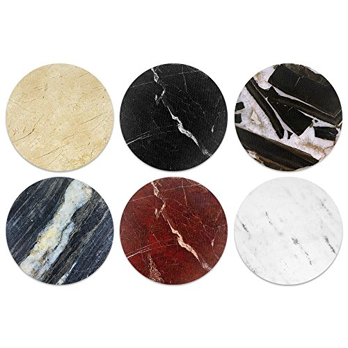 (CARIBOU Coasters Classic Marble Design Absorbent Neoprene Coasters for Drinks, 6pcs Set)