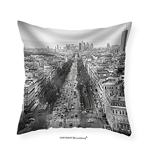 VROSELV Custom Cotton Linen Pillowcase View of Paris from Arc De Triomphe France - Fabric Home Decor (Tufted Arc)
