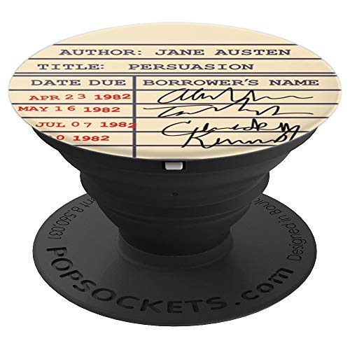 Library Card Persuasion Gift for Jane Austen Fans - PopSockets Grip and Stand for Phones and Tablets