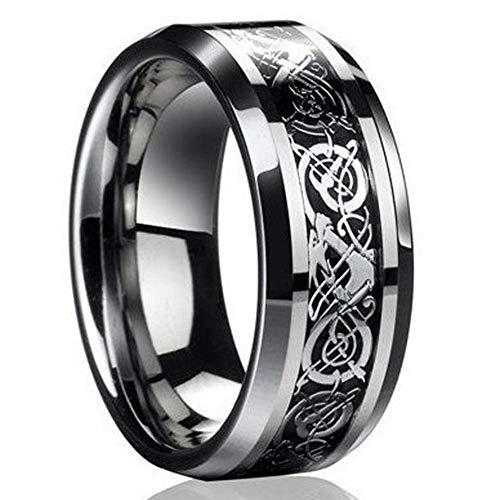 ILJILU New Silver Celtic Dragon Titanium Stainless Steel Men