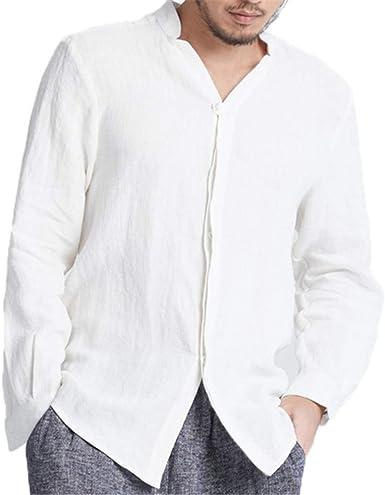 Hombre Cuello en V Camisetas - Manga Larga Regular Fit Shirt Moda Color Sólido Blusa Camisas Tallas Grandes Blanco/Negro: Amazon.es: Ropa y accesorios