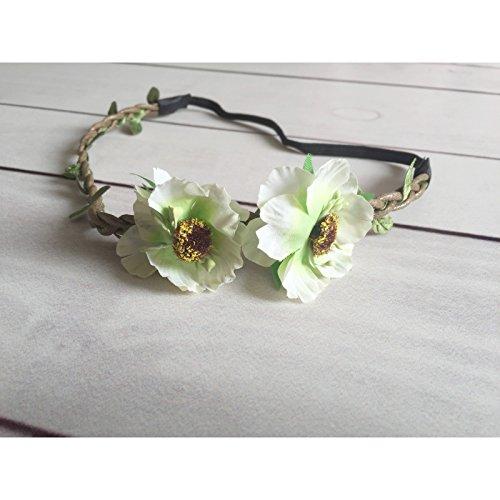 Diadema doble flores lados modelo degradado verde y crema