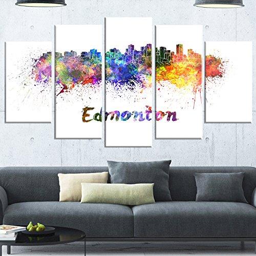 Designart Edmonton Skyline-Cityscape Metal Wall Art-MT6598-60x32-5, 60x32-5 Panels Diamond Shape (Metal Art Edmonton Wall)