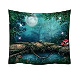 Fashion Tapestry,Green Leaf Pattern Fresh Style Decorative Tapestry Home Decor Hang Cloth Cheap On Sale (E)