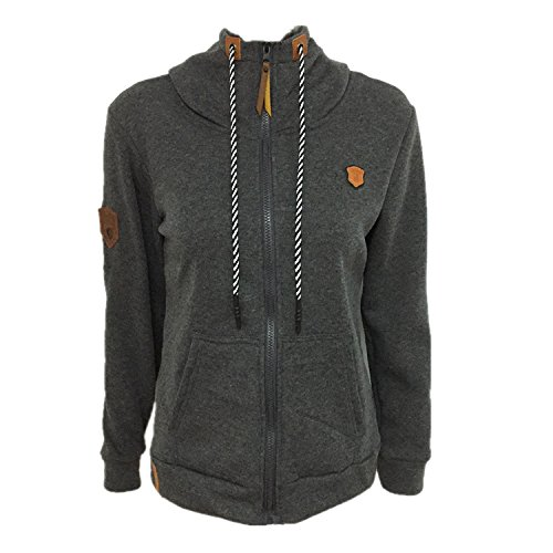 Lucao Women's Hooded Long Sleeves Loose Sweater Sweatshirt Dark Grey-XL
