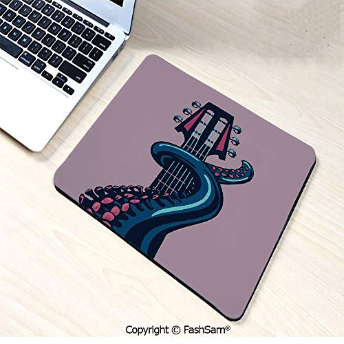 (Desk Mat Mouse Pad Octopus Tentacle is Holding Guitar Riff Musical Instrument Rock and Roll Modern Artwork for Office(W9.85xL11.8))