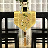 Table runners jacquard chinese style dining room ling room table decoration cloth with tassel-C 32x200cm(13x79inch)